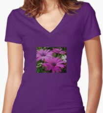 Purple And Pink Tropical Daisy Flower Women's Fitted V-Neck T-Shirt