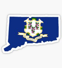 Connecticut (CT) State Flag Inside State, Small Sticker