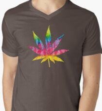 Tie-Dye Cannabis Leaf Men's V-Neck T-Shirt