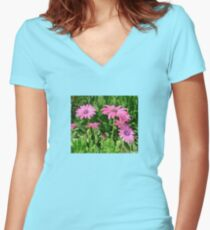 Magenta Africa Daisies Women's Fitted V-Neck T-Shirt