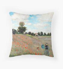 Poppy Field - Claude Monet - 1873 Throw Pillow