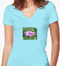 Purple Osteospermum Against Green Leaves Women's Fitted V-Neck T-Shirt
