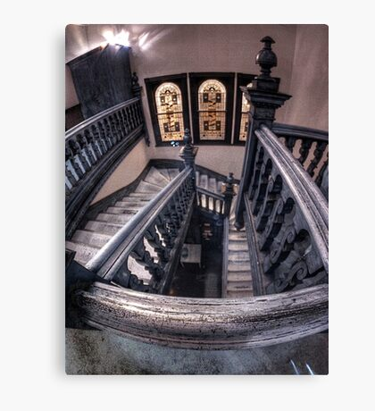 Staircase and stained glass. Canvas Print