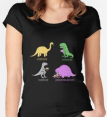 Funny Dinosaurs Fitted Scoop T-Shirt