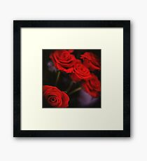 Analog photo of bunch bouquet of red roses Framed Print