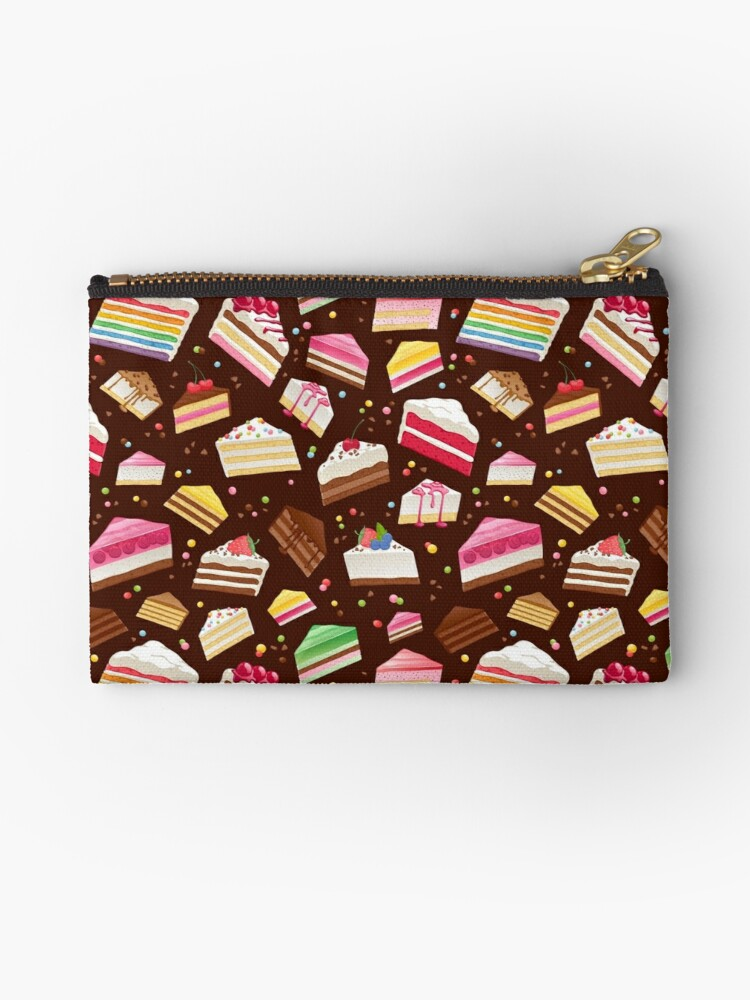 \u0027Colorful sweet cakes slices pattern.\u0027 Zipper Pouch by Reamolko