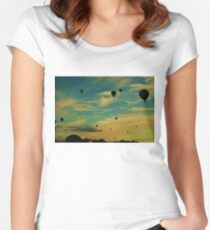 Balloon Festival Sky - Yellow Women's Fitted Scoop T-Shirt
