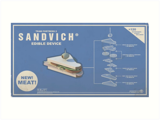 Team Fortress 2 Sandvich Poster Art Prints By Nern9 Redbubble