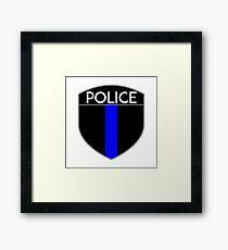 POLICE COPS THIN BLUE LINE SUPPORT CREST LAW ENFORCEMENT SHERIFF Framed Print