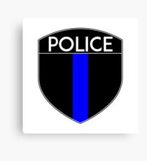 POLICE COPS THIN BLUE LINE SUPPORT CREST LAW ENFORCEMENT SHERIFF Canvas Print