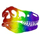 Rainbow Dinosaur Skull by moietymouse