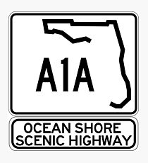 A1A - Ocean Shore Scenic Highway Photographic Print