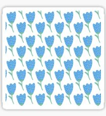 Simple doodle blue tulip pattern. Cute flower seamless background. Summer wallpaper. Sticker