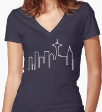 Seattle Skyline (Frasier) Women's Fitted V-Neck T-Shirt