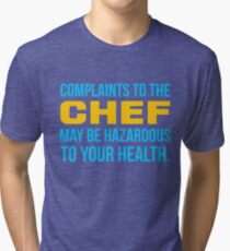 Complaints to the chef may be hazardous to your health - yellow & sky blue print Tri-blend T-Shirt
