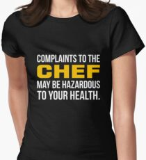 Complaints to the chef may be hazardous to your health - yellow & white print Womens Fitted T-Shirt