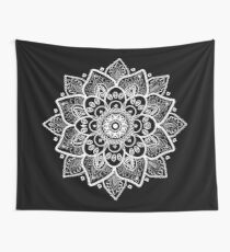 White Ornate Floral Mandala Wall Tapestry