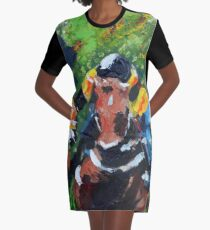 Head On Horse Race Graphic T-Shirt Dress
