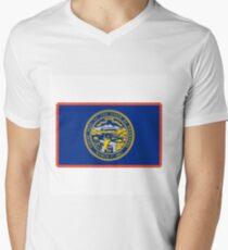 Neon Nebraska Flag Men's V-Neck T-Shirt