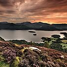 Sunset over Derwentwater from Walla Crag English Lake District by Martin Lawrence