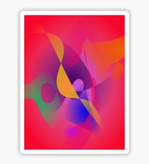 Simple Red Abstract Painting Sticker
