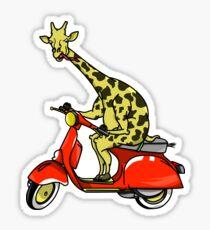 Giraffe Riding A Moped Sticker
