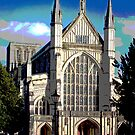The Great West End, Winchester Cathedral, southern England, posterised. by Philip Mitchell