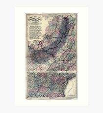0331 Railroad Maps Maps showing the connections of the Northern and Southern West Virginia Railroad with the three grand trunk railways which unite the Atlantic seaboard Art Print