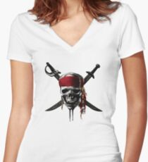 Pirates of the Caribbean Women's Fitted V-Neck T-Shirt