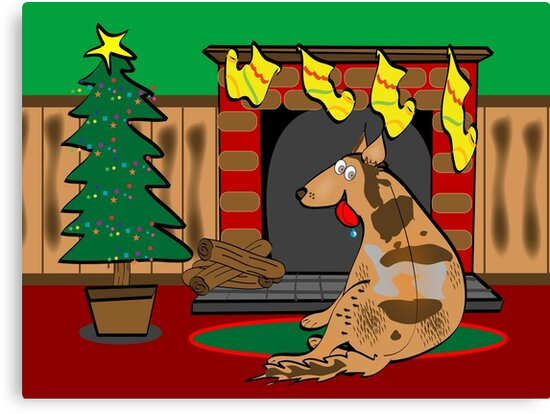 Koolie Christmas Card: Waiting for Santa by Diana-Lee Saville
