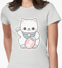 Pink Maneki Neko Womens Fitted T-Shirt