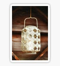 Old-fashioned lacy white lantern. Textured background. Sticker