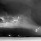 Midnight Lightning Over The Ocean by DARRIN ALDRIDGE