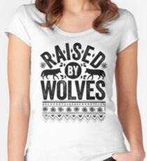 Raised By Wolves {Black + White} Women's Fitted Scoop T-Shirt