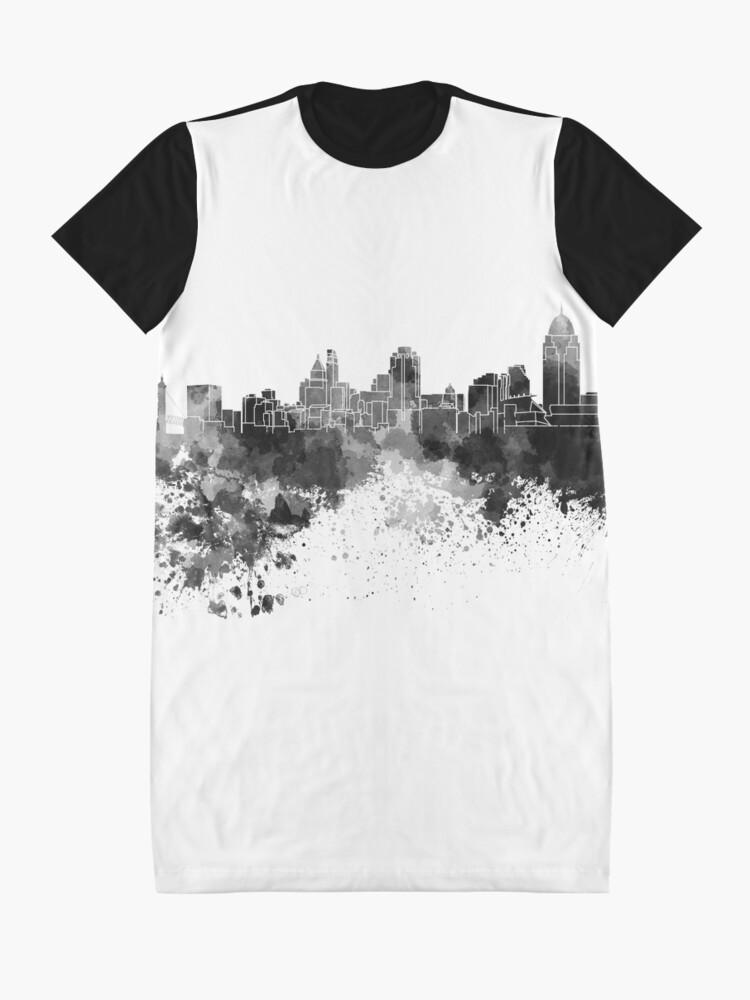 Alternative Ansicht von Cincinnati-Skyline im schwarzen Aquarell T-Shirt Kleid