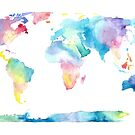 The Places We'll Go - Watercolor World Map by Tangerine-Tane
