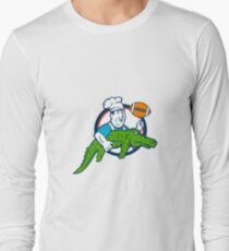 Chef Twirling Football Carry Alligator Circle Retro T-Shirt