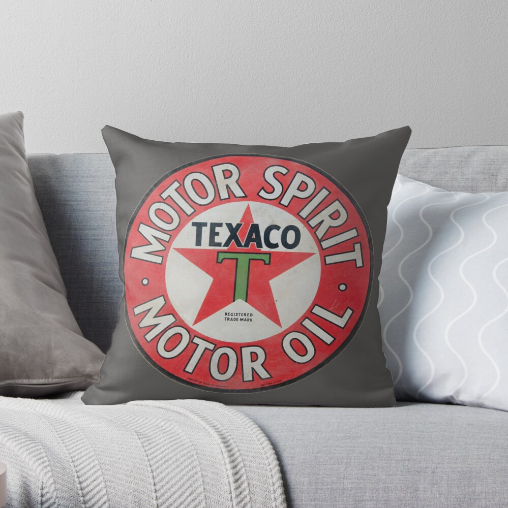 Vintage Texaco Motor Spirit Logo | Throw Pillow