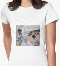 Claude Monet - On The Beach At Trouville 1871 Womens Fitted T-Shirt
