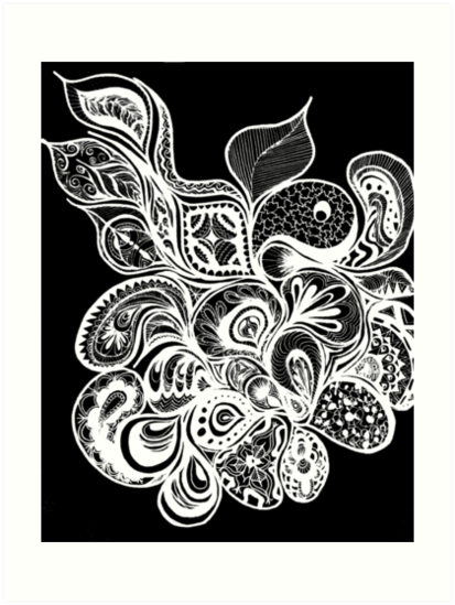 Black And White Henna Design Art Prints By Maddiegeddes Redbubble