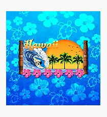 Hawaiian Surfing Blue Honu Photographic Print