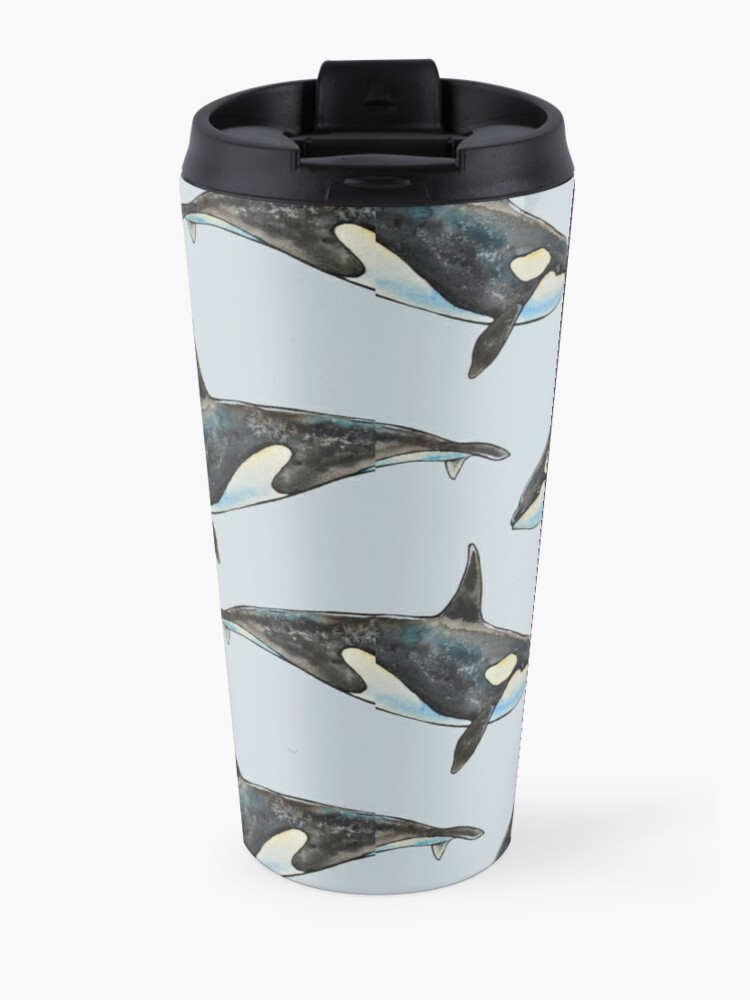 Alternate view of Orca on blue Travel Mug