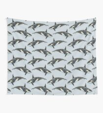 Orca on blue Wall Tapestry