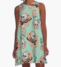 Flower Skull Pattern A-Line Dress