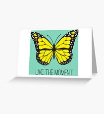 Live The Moment Inspirational Girly Butterfly Design Greeting Card