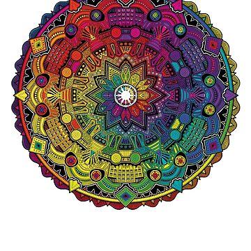 "Mandala 59 ""Time Dilation"" Rainbow Multicoloured by mandala-jim"