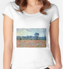 Claude Monet - Poppy Field In Giverny 03 Women's Fitted Scoop T-Shirt
