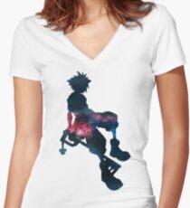 Camiseta entallada de cuello en V Sora, corazones del reino ~