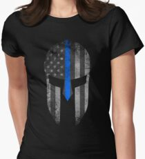 Blue Line American Flag Spartan Helm Women's Fitted T-Shirt