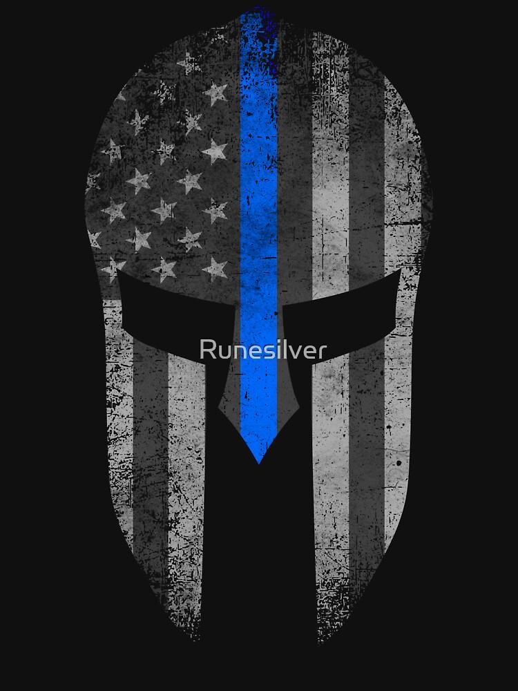 Blue Line American Flag Spartaner Helm von Runesilver